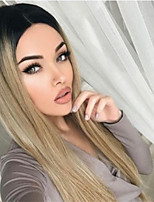 cheap -Synthetic Wig Straight Middle Part Wig Very Long Blonde Synthetic Hair Women's Fashionable Design Ombre Hair Romantic Blonde