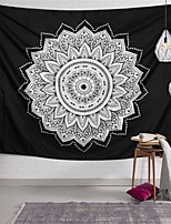 cheap -Wall Tapestry Art Decor Blanket Curtain Picnic Tablecloth Hanging Home Bedroom Living Room Dorm Decoration Polyester Black Background White Mandala Beauty View