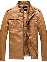 cheap -men's vintage stand collar pu leather jacket x-large brown