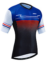 cheap -21Grams Women's Short Sleeve Cycling Jersey Black / Blue Bike Jersey Top Mountain Bike MTB Road Bike Cycling UV Resistant Breathable Quick Dry Sports Clothing Apparel / Stretchy