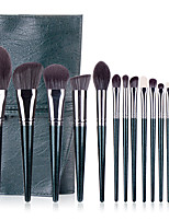 cheap -14 Pcs Green Makeup Brushes Matcha Makeup Brush Plant Quick-drying Fiber Soft Hair Makeup Brush Set Wooden Handle Plant Quick-drying Fiber