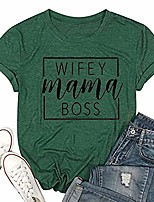 cheap -mama shirt for women wifey mama boss letter printed mom t shirt casual o neck short sleeve mother gifts tee tops shirt,green