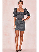 cheap -Women's Sheath Dress Short Mini Dress - Half Sleeve Solid Color Spring Sexy Going out Puff Sleeve Slim 2020 Silver S M L XL XXL
