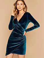 cheap -Women's Wrap Dress Short Mini Dress - Long Sleeve Solid Color Patchwork Spring V Neck Sexy Party Slim 2020 Wine Army Green S M L XL