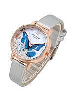 cheap -womens ladies fashion grey leather wrist watch elegant simple butterfly with floated rhinestones analog quartz dress watch -blue butterfly