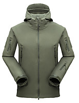 cheap -Men's Hiking Jacket Winter Outdoor Solid Color Thermal Warm Waterproof Windproof Fleece Lining Jacket Full Length Hidden Zipper Climbing Camping / Hiking / Caving Traveling Black / Green / Breathable