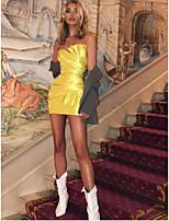 cheap -Women's Wrap Dress Short Mini Dress - Sleeveless Solid Color Backless Summer Strapless Sexy Club Slim 2020 Yellow S M L XL