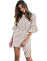 cheap -Women's Chiffon Dress Knee Length Dress - Half Sleeve Polka Dot Ruffle Summer Boho Going out 2020 White S M L XL