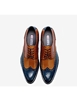 cheap -Men's Oxfords Business / Casual Office & Career Leather Breathable Wear Proof Blue Color Block Summer / Fall