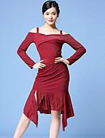 cheap -Latin Dance Skirts Tassel Split Split Joint Women's Training Performance Long Sleeve High Polyester