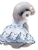 cheap -ooeoo small puppy dress pet apparel butterfly pearl shirt dog cat costume summer skirt (blue)