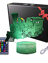 cheap -Steam Train Night Lights for Kids Baby Teen 3D Illusion Lamp Birthday Party Christmas Train Gifts Anniversary Present Multi Color Remote Lamp Room Bedside Table Desk Nursery Decor Lighting