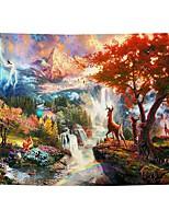 cheap -Wall Tapestry Art Decor Blanket Curtain Picnic Tablecloth Hanging Home Bedroom Living Room Dorm Decoration Cartoon Polyester Colorful Mountain Water Deer Beauty Views