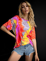 cheap -Women's T-shirt Tie Dye Print Round Neck Tops Loose 100% Cotton Basic Basic Top Blue Purple Yellow