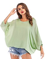 cheap -Women's T-shirt Solid Colored Long Sleeve Round Neck Tops Batwing Sleeve Basic Basic Top Black Khaki Light Green