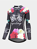 cheap -Malciklo Women's Long Sleeve Cycling Jersey Black / Red Tropical Flowers Bike Thermal Warm Warm Sports Graphic Mountain Bike MTB Road Bike Cycling Clothing Apparel / Micro-elastic