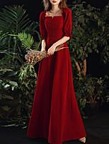 cheap -A-Line Minimalist Vintage Engagement Formal Evening Dress Scoop Neck Half Sleeve Floor Length Velvet with Buttons Ruffles 2020