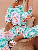 cheap -Women's Basic Tie Dye Two Piece Set Sweatshirt Pant Tops