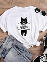 cheap -Women's T-shirt Cat Graphic Prints Letter Print Round Neck Tops 100% Cotton Basic Basic Top White Black Purple