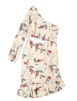 cheap -Women's Sheath Dress Midi Dress - Long Sleeve Floral Patchwork Spring Elegant Slim 2020 White Black Blushing Pink S M L XL XXL 3XL
