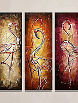 cheap -Oil Painting Hand Painted - Abstract Animals Modern Rolled Canvas (No Frame) / Three Panels
