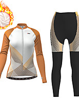 cheap -21Grams Women's Long Sleeve Cycling Jersey with Tights Winter Fleece Polyester Orange Gradient Geometic Bike Clothing Suit Thermal Warm Fleece Lining Breathable 3D Pad Warm Sports Gradient Mountain
