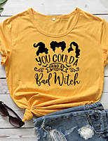 cheap -Women's Halloween T-shirt Letter Portrait Print Round Neck Tops 100% Cotton Basic Halloween Basic Top White Purple Red