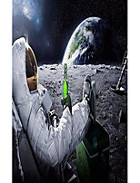 """cheap -astronauts on the moon fabric cloth rolled wall poster print - size: (40"""" x 24"""" / 21"""" x 13"""")"""