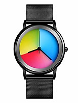 cheap -womens colorful waterproof wrist watch - unisex stainless steel quartz analog watches for women simple fashion rainbow gradient round dial creative ladies watch