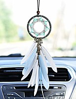 cheap -handmade unicorn dream catcher car interior rearview pendant charm car hanging decoration (white feathers)