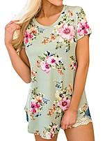 cheap -Women's T-shirt Floral Flower Print Round Neck Tops Basic Basic Top Yellow Blushing Pink Light Green
