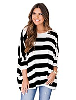 cheap -Women's T-shirt Striped Long Sleeve Round Neck Tops Basic Basic Top Black Red Blushing Pink
