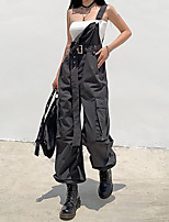 cheap -Women's Basic Daily Overalls Pants Solid Colored Sports Gray S M L