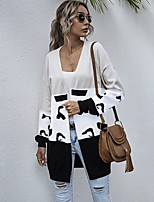 cheap -Women's Basic Long Knitted Leopard Color Block Cheetah Print Cardigan Long Sleeve Sweater Cardigans Open Front Spring Fall White Red Brown