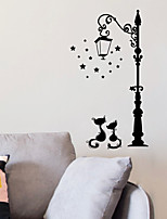 cheap -Animals Wall Stickers Black Cat Lovers under Street Lights Wall Stickers Decorative Wall Stickers PVC Home Decoration Wall Decal Wall Decoration 1pc