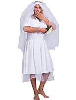 cheap -Ghostly Bride Dress Cosplay Costume Party Costume Adults' Men's Cosplay Vacation Dress Halloween Halloween Festival / Holiday Polyester White Men's Easy Carnival Costumes / Headwear / Headwear