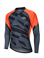 cheap -YORK TIGERS Men's Long Sleeve Cycling Jersey Downhill Jersey Grey Orange Patchwork Bike Tee Tshirt Sports Clothing Apparel / Advanced / Micro-elastic