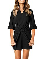 cheap -Women's A-Line Dress Short Mini Dress - Half Sleeve Solid Color Spring Summer V Neck Casual Going out Slim 2020 Black Army Green Light Brown Gray S M L XL