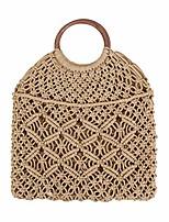 cheap -handmade straw bag travel beach fishing net handbag shopping woven shoulder bag for women(khaki#)