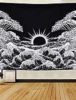 cheap -great wave kanagawa tapestry, wave tapestries with sunrise tapestry black and white waves tapestry wall hanging for room
