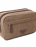 cheap -mens travel toiletry bag canvas leather cosmetic makeup organizer shaving dopp kits with double compartments (coffee)