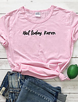 cheap -Women's T-shirt Letter Print Round Neck Tops 100% Cotton Basic Basic Top White Black Blushing Pink