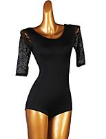 cheap -Ballroom Dance Leotard / Onesie Lace Split Joint Women's Training Short Sleeve Elastane
