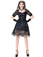 cheap -Bride Dress Cosplay Costume Party Costume Adults' Women's Cosplay Vacation Dress Halloween Halloween Festival / Holiday Polyester Black Women's Easy Carnival Costumes / Headpiece / Gloves / Headpiece