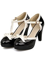 cheap -fashion women t-strap high heels bow platform round toe pumps leather summer lolita sweet shoes (red2, 10)