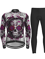 cheap -21Grams Men's Long Sleeve Cycling Jersey with Tights Purple Skull Bike Breathable Quick Dry Moisture Wicking Sports Skull Mountain Bike MTB Road Bike Cycling Clothing Apparel / Micro-elastic