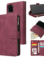 cheap -Case For iPhone 11 11 Pro 11 Pro Max XS Max XR X 6 7 8 Plus SE 2020 Card Holder Flip Magnetic Full Body Cases Solid Colored PU Leather