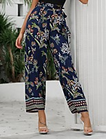 cheap -Women's Basic Daily Wide Leg Pants Floral Breathable Blue S M L
