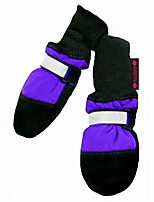 cheap -original fleece-lined dog boots – warm, cozy socks for dogs, puppies – stretchy, adjustable pet booties – leather soles, reflective straps – itty bitty to xxl – 4 pack, purple