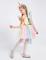 cheap -Princess Unicorn Flapper Dress Outfits Masquerade Girls' Movie Cosplay A-Line Slip Cosplay Rainbow Dress Wings Headwear Halloween Children's Day Masquerade Polyester Organza